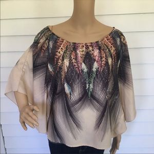Charlotte Russe oversized multi colored blouse